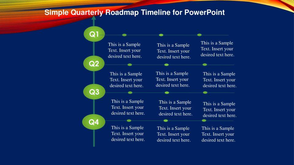 Simple Quarterly Roadmap Timeline For Powerpoint Slidevilla